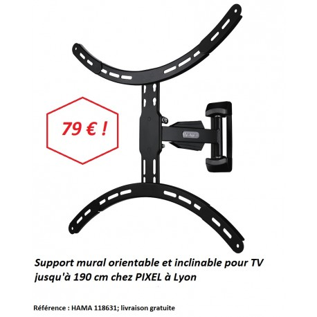 Hama 118631 Support mural TV 190 cm orientable à Lyon